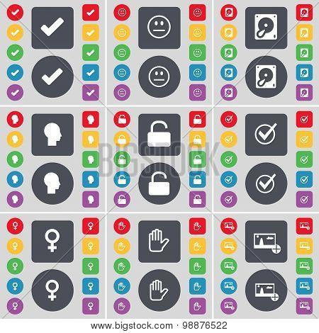 Tick, Smile, Hard Drive, Silhouette, Lock, Tick, Venus Symbol, Hand, Picture Icon Symbol. A Large Se