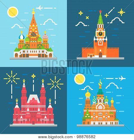 Flat Design Russia Landmarks Set