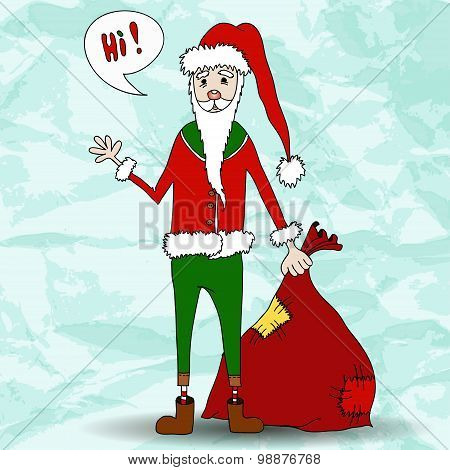 Funny Santa Claus with blue background.