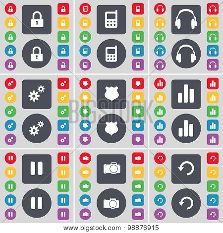 Lock, Mobile Phone, Headphones, Gear, Police Badge, Diagram, Pause, Camera, Reload Icon Symbol. A La