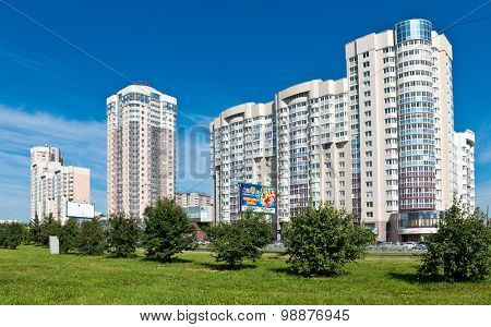 EKATERINBURG, RUSSIA -AUGUST 09, 2015: Residential  building. Fuecheck street. The population of Ekaterinburg is 1.5 million