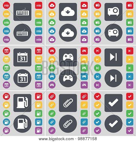 Keyboard, Cloud, Projector, Calendar, Gamepad, Media Skip, Gas Station, Clip, Tick Icon Symbol. A La