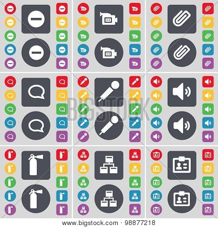 Minus, Film Camera, Clip, Chat Bubble, Microphone, Sound, Fire Extinguisher, Network, Contact Icon S