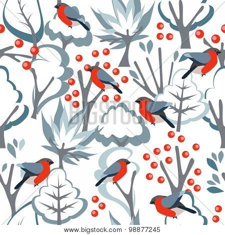 Stylized seamless pattern with red bullfinches on white