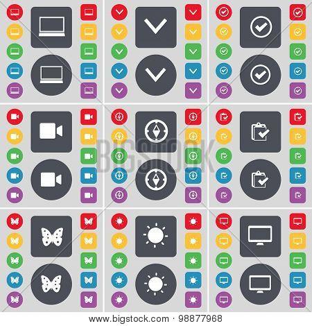 Laptop, Arrow Down, Tick, Film Camera, Compass, Survey, Butterfly, Light, Monitor Icon Symbol. A Lar