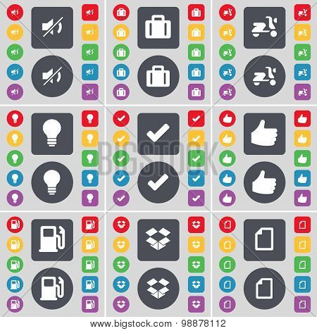 Mute, Suitcase, Scooter, Lightbulb, Tick, Like, Gas Station, Dropbox, File Icon Symbol. A Large Set