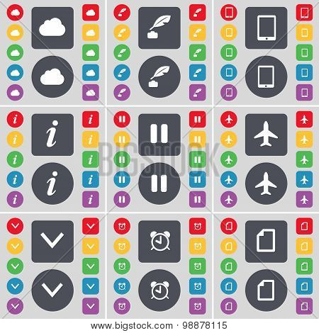 Cloud, Ink Pen, Tablet Pc, Information, Pause, Airplane, Arrow Down, Alarm Clock Icon Symbol. A Larg