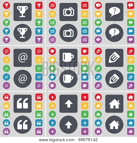 Cup, Camera, Chat Bubble, Mail, Cup, Pencil, Quotation Mark, Arrow Up, House Icon Symbol. A Large Se