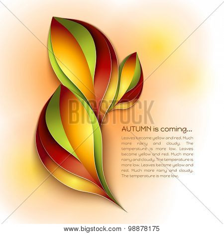 Autumn abstract vector background. Orange and red color leaves. Paper design. Autumn is coming