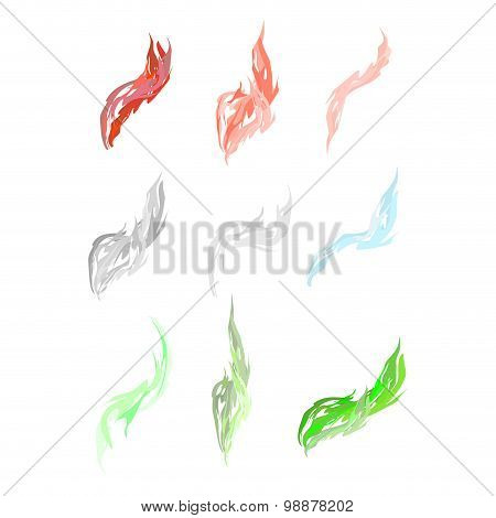 Set Of Acid Fumes And Smoke. Pink And Green Smoke. Vector Illustration Does Not Contain Transparency