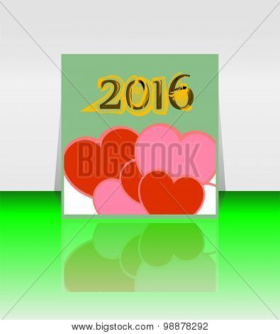 Happy New Year 2016 Word On Blank Note Book With Red Heart Shape, New Year Template