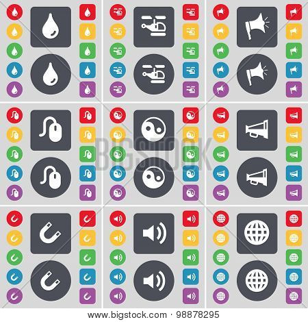 Drop, Helicopter, Megaphone, Mouse, Yin-yang, Megaphone, Magnet, Sound, Globe Icon Symbol. A Large S