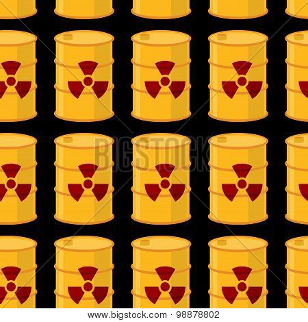 Yellow Barrels Of Radioactive Substance Seamless Pattern. Vector Background Of Toxic Waste.