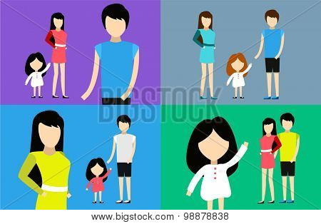Happy family together. Portrait, home happy. Mother, father and girl. Family time, summer vacation. Relationships. People cartoon characters isolated. Dress, t-short. Man and woman  silhouette
