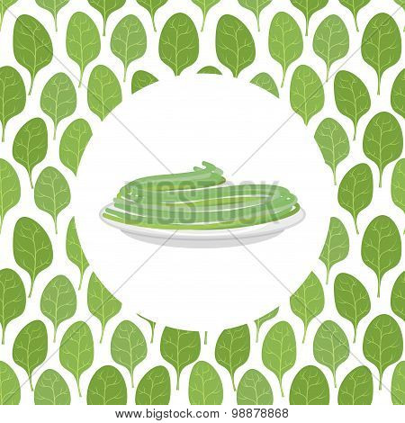 Spinach Spaghetti Spinach Leaves On The Background. Vector Illustration Of Pasta.