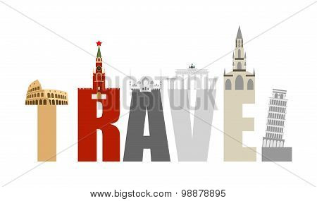 Travel Attractions And Letters. Structure Of  Various States And Countries: Russia And Italy, German