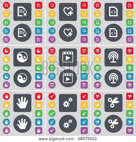 Text File, Heart, File, Yin-yang, Media Player, Wi-fi, Hand, Gear, Scissors Icon Symbol. A Large Set