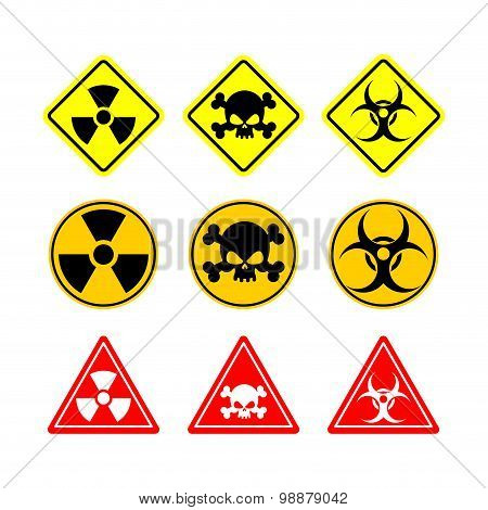 Set Sign Biohazard, Toxicity, Dangerous. Yellow Signs Of Various Shapes: Circle, Square And Triangle
