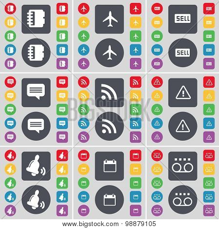 Notebook, Airplane, Sell, Chat Bubble, Rss, Warning, Bell, Calendar, Cassette Icon Symbol. A Large S
