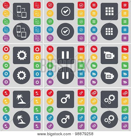 Connection, Tick, Apps, Gear, Pause, Film Camera, Palm, Mars Cursor, Gear Icon Symbol. A Large Set O
