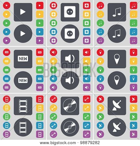 Media Play, Socket, Note, New, Sound, Checkpoint, Negative Films, Disk, Satellite Dish Icon Symbol.