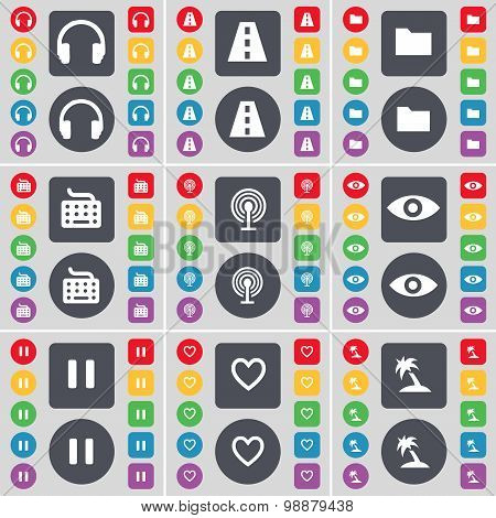 Headphones, Road, Folder, Keyboard, Wi-fi, Vision, Pause, Heart, Palm Icon Symbol. A Large Set Of Fl
