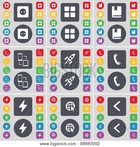 Socket, Apps, Dictionary, Connection, Rocket, Receiver, Flash, Web Cursor, Arrow Left Icon Symbol. A