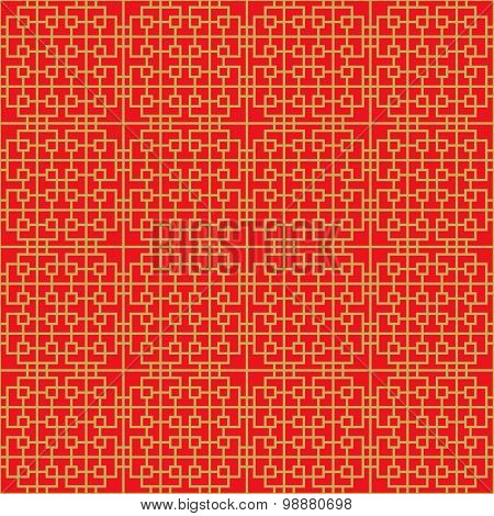 Golden seamless Chinese window tracery lattice geometry square spiral line background.