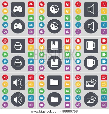 Gamepad, Yin-yang, Sound, Printer, Dictionary, Cup, Sound, Folder, Picture Icon Symbol. A Large Set