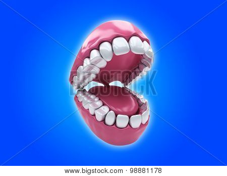 Open mouth and white healthy teeth on blue background