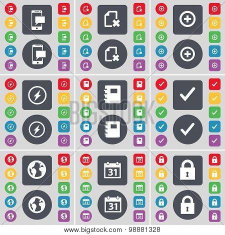 Sms, File, Plus, Flash, Notebook, Tick, Earth, Calendar, Lock Icon Symbol. A Large Set Of Flat, Colo