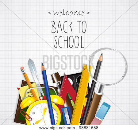 Back to School poster. School supplies on paper