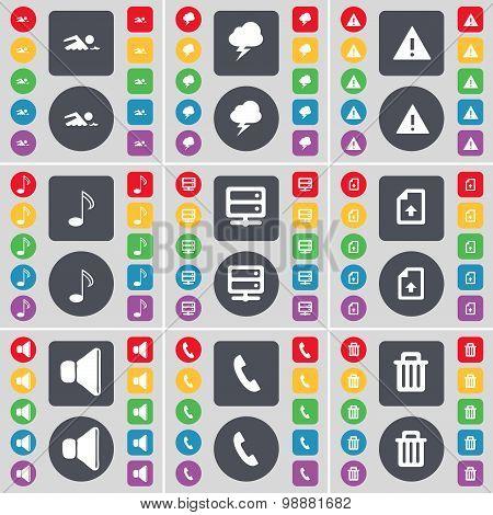 Swimmer, Lightning, Warning, Note, Server, Upload File, Sound, Receiver, Trash Can Icon Symbol. A La