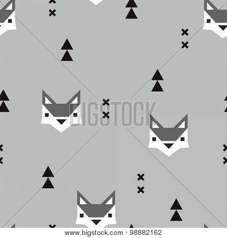 Seamless geometric fox kids fall illustration aztec arrows cute background pattern in vector in gray