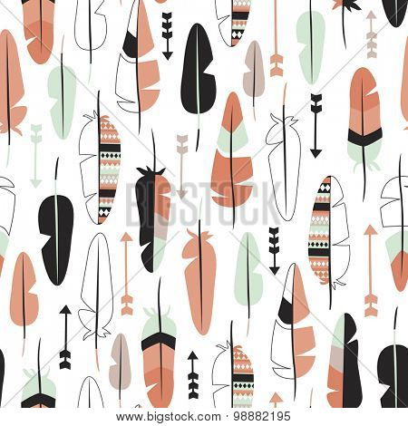 Seamless coral and mint bird feathers indian summer theme arrows illustration background pattern in vector