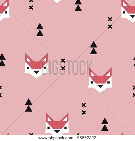 Seamless girls geometric fox kids fall illustration aztec arrows cute background pattern in vector in pink