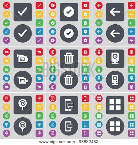 Tick, Arrow Left, Film Camera, Trash Can, Speaker, Lollipop, Sms, Apps Icon Symbol. A Large Set Of F