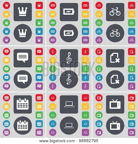Crown, Chat Bubble, Bicycle, Chat Bubble, Clef, File, Calendar, Laptop, Retro Tv Icon Symbol. A Larg