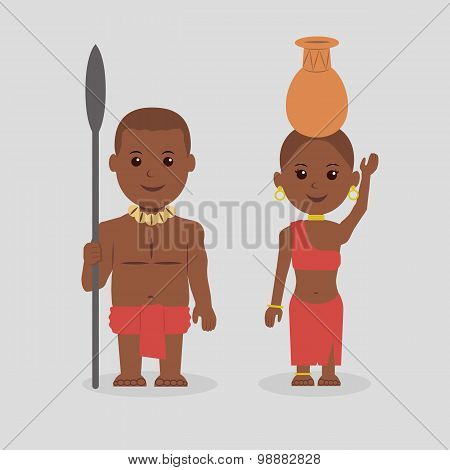 Illustration of native African man and woman.