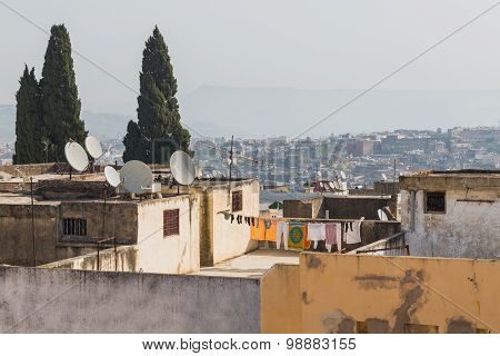The Roof Top Of Moroccan House In Fes