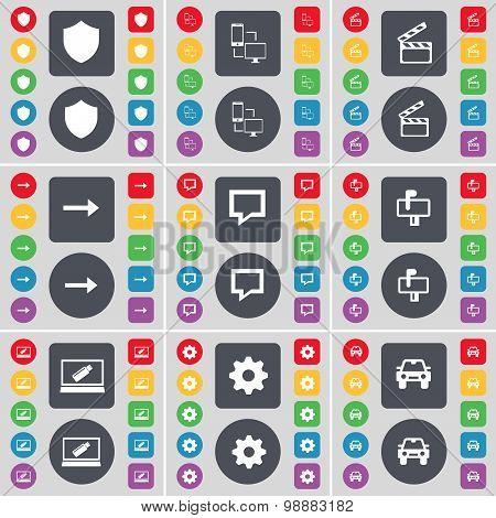 Badge, Connetion, Clapper, Arrow Right, Chat Bubble, Mailbox, Laptop, Gear, Car Icon Symbol. A Large