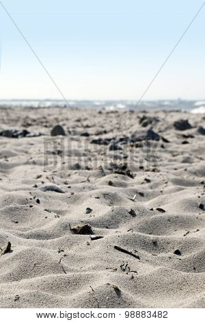 Vacation Background, Natural  Sandy Beach At The Sea, Narrow Depth Of Field