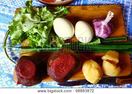 vegetables eggs and salad  for summer cold beetroot soup