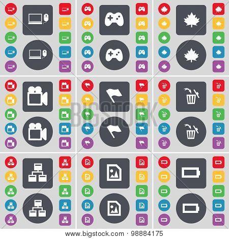 Laptop, Gamepad, Maple Leaf, Film Camera, Flag, Trash Can, Network, Media File, Battery Icon Symbol.