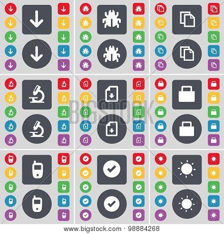 Arrow Down, Bug, Copy, Microscope, Download File, Lock, Mobile Phone, Tick, Light Icon Symbol. A Lar