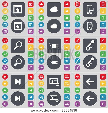 Window, Cloud, Sms, Magnifying Glass, Socket, Microphone, Media Skip, Picture, Arrow Left Icon Symbo