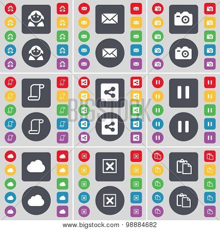 Avatar, Message, Camera, Scroll, Share, Pause, Cloud, Stop, Survey Icon Symbol. A Large Set Of Flat,