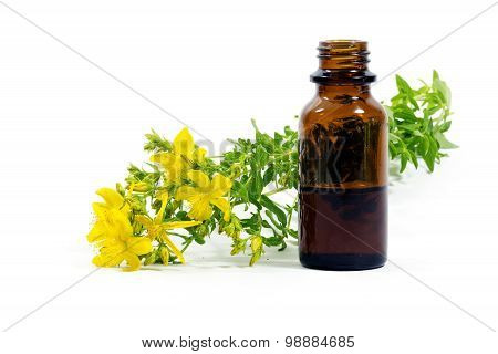 Flowers Of St. John's Wort, Hypericum Perforatum, And A Bottle With Extract Isolated On White