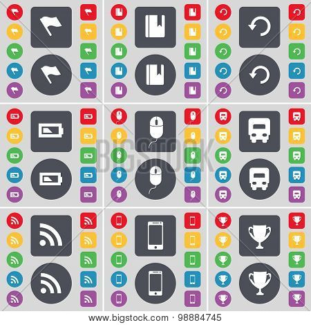 Flag, Dictionary, Reload, Battery, Mouse, Truck, Rss, Smartphone, Cup Icon Symbol. A Large Set Of Fl