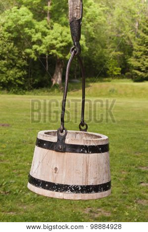 Wooden bucket hanging